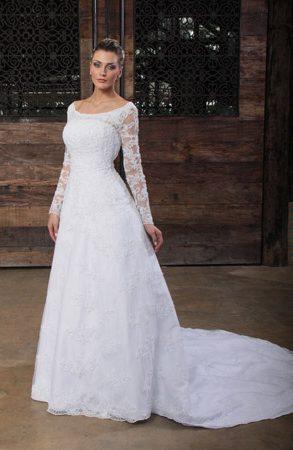 Vestido de noiva ombro a ombro, bordado