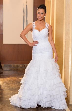 Vestido de noiva sereia com alça rendada